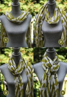Earlier this week I gave you an idea of how to store your scarves when you're not wearing them. Now I'm looking at ways to tie scarves when you DO want to wear them.