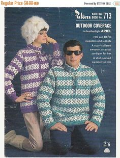 ON SALE Vintage 1960s - Paton's Knitting Pattern No 713 His and Hers Fashion  in Patons Ariel Triple Knitting