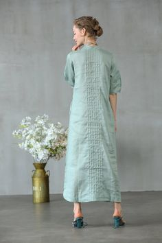 Women Summer  Top Holidays Soft Linen Embroidered  Kurta Kaftan
