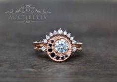 Black Diamond and White Diamond Moissanite Engagement Ring