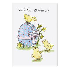 Süße Postkarte für liebe Ostergrüße an Freunde und Familie. Krima & Isa - Postkarte Ostern Küken bei www.party-princess.de