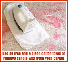2 - Use iron and cotton towel to remove candle wax on carpet