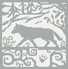 Wolf knitting chart... Possibly turn into a double sided knit blanket someday.