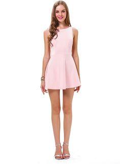 Pink Sleeveless Backless Ruffle Skater Dress