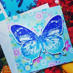 #butterfly greeting card blue with #flowers