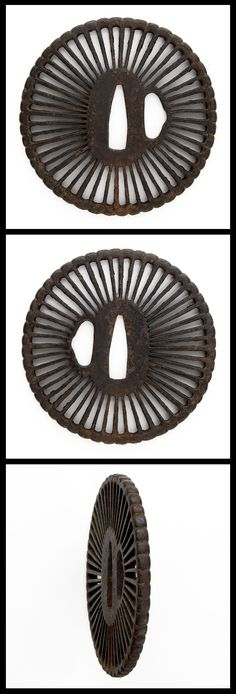 Edo Big Iron Tsuba, Openwork chrysanthemum design is engraved.