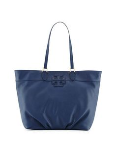 Leather+Stacked-T+Logo+Tote+Bag,+Starless+Night+by+Tory+Burch+at+Neiman+Marcus.