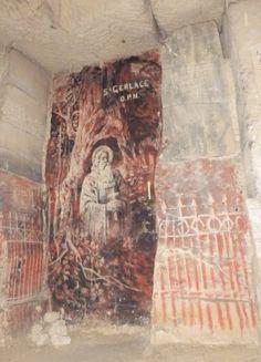 Note the charcoal cartoon in a Cave under Valkenburg castle in Valkenburg, Limburg in the  Netherlands.