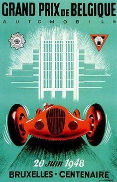 1937 Automotive Poster Pau France Grand Prix Vintage Style Poster 20x28
