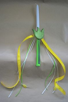 Sparkly Flower Collection Yellow Easter Candle by LimaniDesigns, $15.00