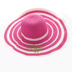 Ladies Monogram Sun Hat by TexasSweetTees on Etsy Floppy Sun Hats, Beach Essentials, Pink Stripes, Little Sisters, Hot Pink, Pink White, Personalized Gifts, Beach Hats, Simply Southern
