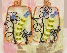 Blue Floral Spain Floral Stone Bliss Unique Green Ceramic; Dangle; Floral; Czech glass; Bohemian