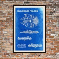 Star Wars Millennium Falcon Blueprint Art of The Millennium Falcon Technical Drawings Engineering Drawings Patent Blue Print Art Item 0102
