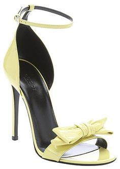 Gucci yellow patent leather bow strap stiletto sandals