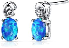Ice 1 CT TW Opal Sterling Silver Drop Earrings with CZ Accents