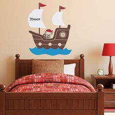 Pirate Ship Wall Decal with Personalized Boys Name - Vinyl Wall Art - Children Wall Decals on Etsy, $37.00