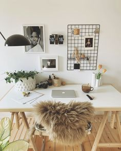 Black And White Tiles, White Walls, Room Ideas Bedroom, Bedroom Bed, 80s Furniture, Desk Areas, Study Areas, Home Office Space, Desk Space