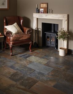 Perfect for introducing natural beauty into an inspired space, this variegated slate is infused with deep mustard yellows and greens with flashes of copper. The brushed uncalibrated finish lends itself to a bold rustic interior.