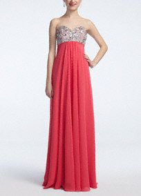 Vibrant, fun and flirty! You will be the one to remember on Prom night!  Strapless ultra-feminine sweetheart bodice features sparkling glass beaded detail.  Empire waist helps create a stunning silhouette.  Vivid coral chiffon skirt adds movement and a splash of color.  Fully lined. Back zip. Imported polyester. Hand wash.