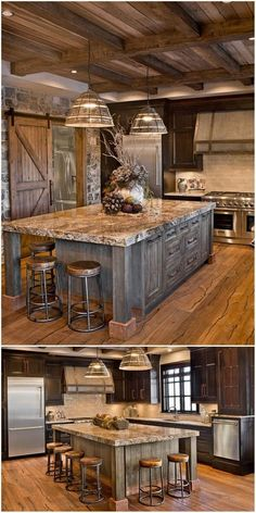 New kitchen lighting wall stove Ideas Kitchen Wall Design, Rustic Kitchen Design, Home Decor Kitchen, New Kitchen, Kitchen Ideas, Kitchen Grey, Rustic Kitchen Island, Rustic Country Kitchens, Rustic Kitchen Cabinets