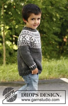 """David - Knitted DROPS jumper worked top down in """"Karisma"""" or """"Merino Extra Fine"""" with round yoke and Norwegian pattern. Size 3 - 12 years. - Free pattern by DROPS Design"""