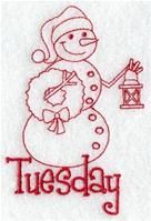 Machine Embroidery Designs at Embroidery Library! - A Days of the Week Redwork Snowmen Pack - Sm