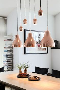 Rose Gold kitchen themes decorations really speaks for it self produces a gorgeous and timeless effect. If you like the metallic trend so much you plan to utilize it boldly, these Rose Gold kitchen gallery will inspire you Copper Pendant Lights, Copper Lighting, Copper Hanging Lights, Copper Light Fixture, Copper Lamps, Pendant Lamps, Industrial Lighting, Industrial Design, Pendant Lighting