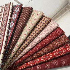 TG1606深红咖乡村布组(10款选) 韩国进口全棉布料拼布DIY 宽1.1