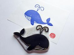 happy whale stamp. marine animal hand carved by talktothesun