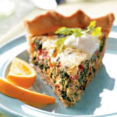 Spinach Swiss Quiche Recipe  Nutritional Facts  1 piece with 1 tablespoon sour cream equals 278 calories, 12 g fat (5 g saturated fat), 22 mg cholesterol, 659 mg sodium, 26 g carbohydrate, 2 g fiber, 17 g protein. Diabetic Exchanges: 2 lean meat, 2 fat, 1-1/2 starch.