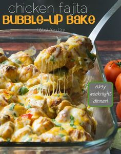#Chicken Fajita Bubble-Up Bake Recipe - canned #biscuits, fajita seasoning, red and green bell pepper, onion, oil, cheese!