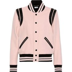Saint Laurent Classic Teddy Wool-Blend Varsity Jacket ($2,625) ❤ liked on Polyvore featuring outerwear, jackets, pink, college jacket, yves saint laurent jacket, yves saint laurent, varsity jacket and pink letterman jacket