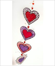 Glass Painting - Dancing Hearts Valentine Mobile