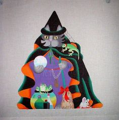 KW-828-Dede-Halloween-2-Sided-Cat-Witch-Doll-HP-Hand-Painted-Needlepoint-Canvas