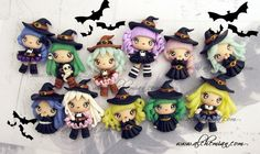 Polymer clay witches! So cute.