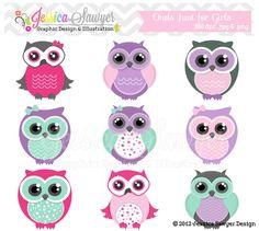 INSTANT+DOWNLOAD++cute+owl+clipart+girly+por+JessicaSawyerDesign,+$4,50
