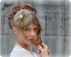 Burlap Wedding Fascinator Hat by GreenTrunkDesigns