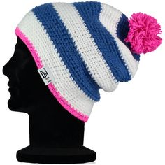 Iona ' Fleece Lined' Beanie Hat - Blue, White and Pink Colour | Zaini Hats
