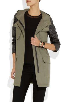 DKNY|Leather-sleeved twill parka |NET-A-PORTER.COM