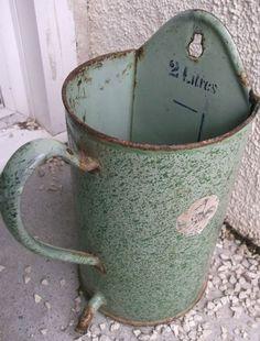 broc pot ancien tôle émaillée à lavement 2 L vert JAPY