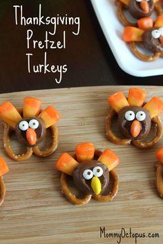 Thanksgiving Pretzel Turkeys | TheBestDessertRecipes.com