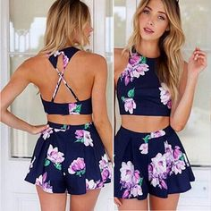 Navy Printed Short Chinese-style Chest Covering Type Backless Top Sport Suit Two-piece Outfit Crop Top Und Shorts, Crop Top And High Waisted Shorts, Crop Top Outfits, Summer Outfits, Summer Shorts, Summer Wear, Summer 2015, Jean Shorts, Backless Top