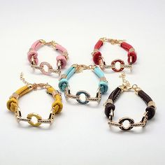 PU Leather Bracelets, with Alloy Enamel Rhinestone Findings and Lobster Clasps -- Jewelish.com