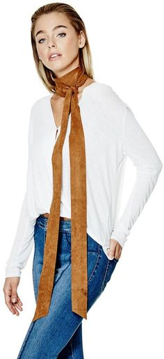 GUESS Women's Faux-Suede Skinny Scarf #scarf #womens #ad