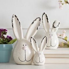 Some-bunny is getting excited for Easter! These Easter bunny figurines look great together, or perched separately. No matter how you choose to display them, they'll be looking sweet.