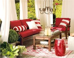 patio. I like the curtains - the chandelier is TOO low! But, something to think about to help shield out sun :)