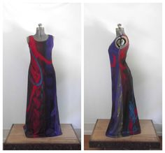 Vintage 1970s Maxi Dress Abstract Colorful Gown by rileybella123, $65.00