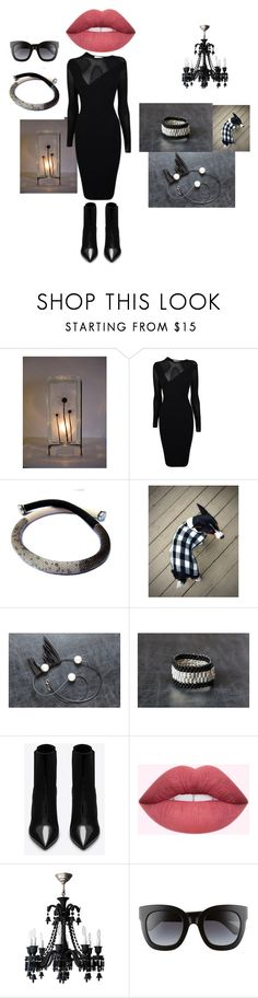 i love black by mariellascode on Polyvore featuring Versace, Yves Saint Laurent, Gucci, Baccarat, Tela Beauty Organics and vintage