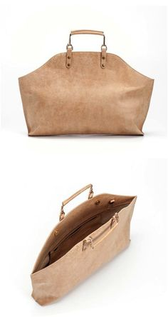 Isn't the shape of this leather tote bag just stunning? I think it's so elegant! | Made on Hatch.co by independent makers & designers