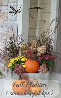 Fall Planter - reuse your grasses! Use an existing summer planter and turn it into a fall planter! Fall Planter - reuse your grasses! Use an existing summer planter and turn it into a fall planter! Fall Home Decor, Autumn Home, Fall Decor For Porch, Fall Porch Decorations, Fall Harvest Decorations, Front Porch Decorating For Fall, Diy Autumn, Thrifty Decor, Diy Home Decor On A Budget